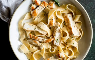Chicken Pasta with Rosemary Cream Sauce. Juicy chunks of chicken stirred through pappardelle all coated in a rich rosemary cream sauce. This easy chicken pasta dish will be a firm favourite.