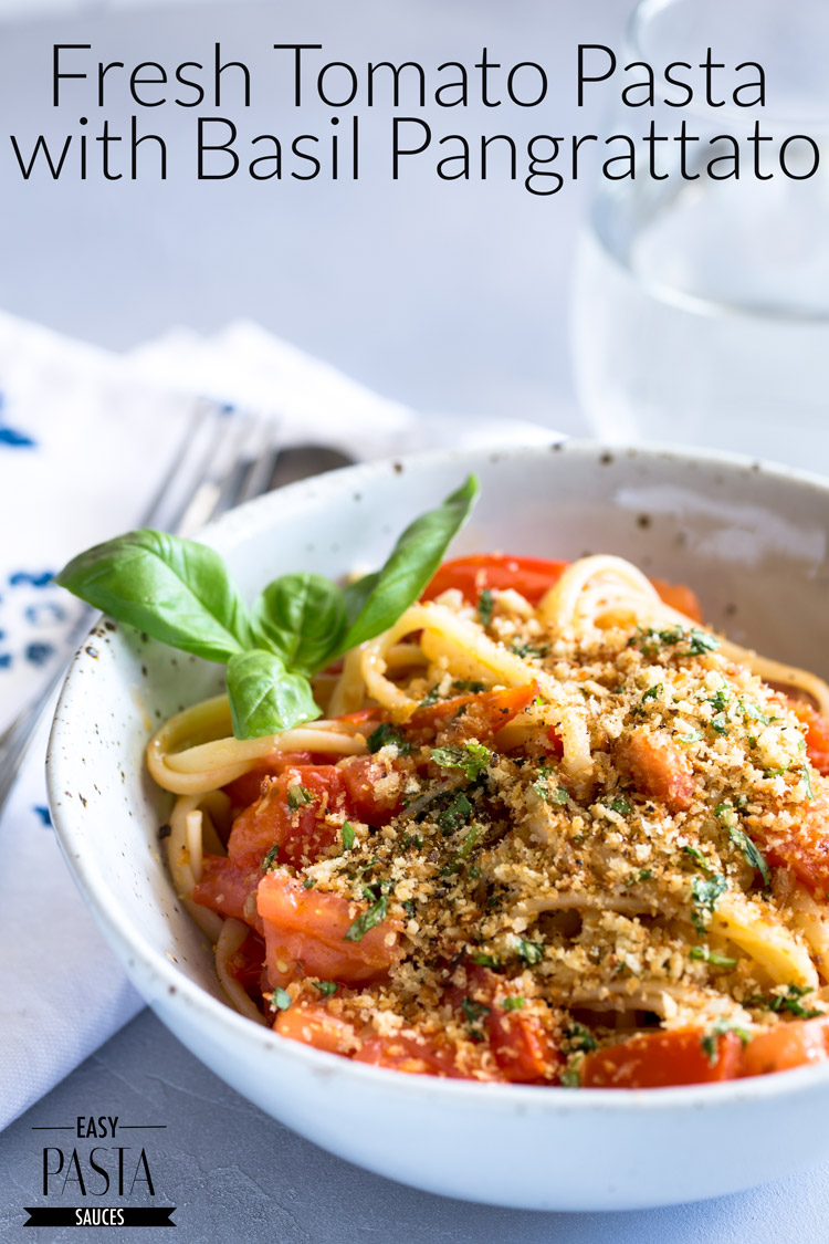 This fresh tomato pasta with basil pangrattato uses a few simple ingredients to make something so delicious. The sauce comes together in the time it takes to cook the pasta, meaning you can have this meal on the table in under 15 minutes!