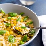 This Summer Pasta with Sweetcorn and Basil is a fresh and quick pasta dish that is perfect for the warmer weather. The pasta is coated in butter and black pepper then tossed through sweet corn and fragrant basil. Finished with creamy and crunchy pine nuts. Just 5 ingredients that sing together and make a dish that will quickly become a firm family favourite.