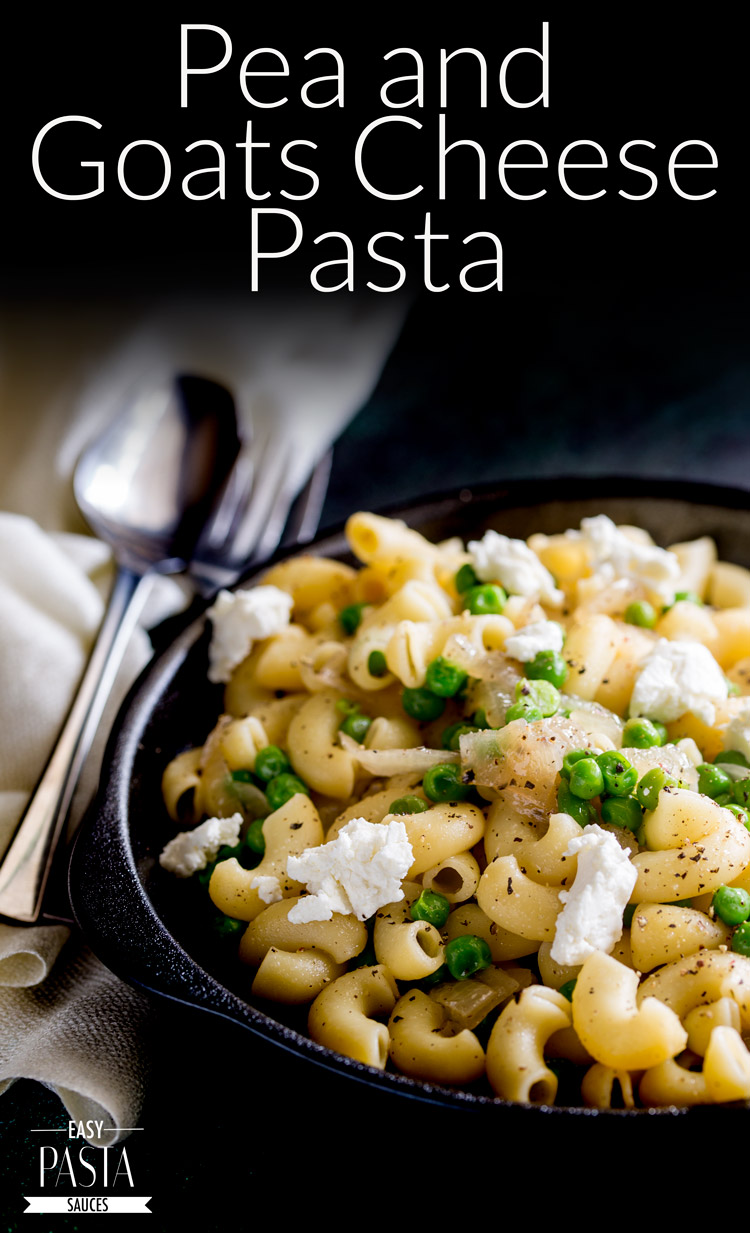 This Pea and Goats Cheese Pasta is a great dish for the whole family. Sweet peas, sweet onions and salty goats cheese - the perfect balance of flavours. From Easy Pasta Sauces.