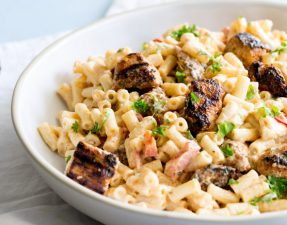 Creamy pasta salad with a peri peri mayonnaise topped with a succulent juicy blackened chicken. This chicken pasta salad is sure to be a hit at your next pot luck. From Easy Pasta Sauces.