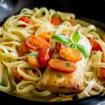 Succulent seared cod, served with fresh tomato and basil pasta, spiked with lemon and garlic. This dinner is elegant and simple. Perfect for a mid-week meal or serving guests on a casual Saturday night.From Easy Pasta Sauces