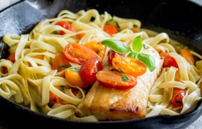 Succulent seared cod, served with fresh tomato and basil pasta, spiked with lemon and garlic. This dinner is elegant and simple. Perfect for a mid-week meal or serving guests on a casual Saturday night. From Easy Pasta Sauces