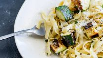 This Charred Zucchini and Thyme Pasta is the perfect mid-week vegetarian pasta. The Sweet smoky charred zucchini are stirred through lemon, thyme and garlic pasta, to create a delicious and simple dinner. From Easy Pasta Sauces.
