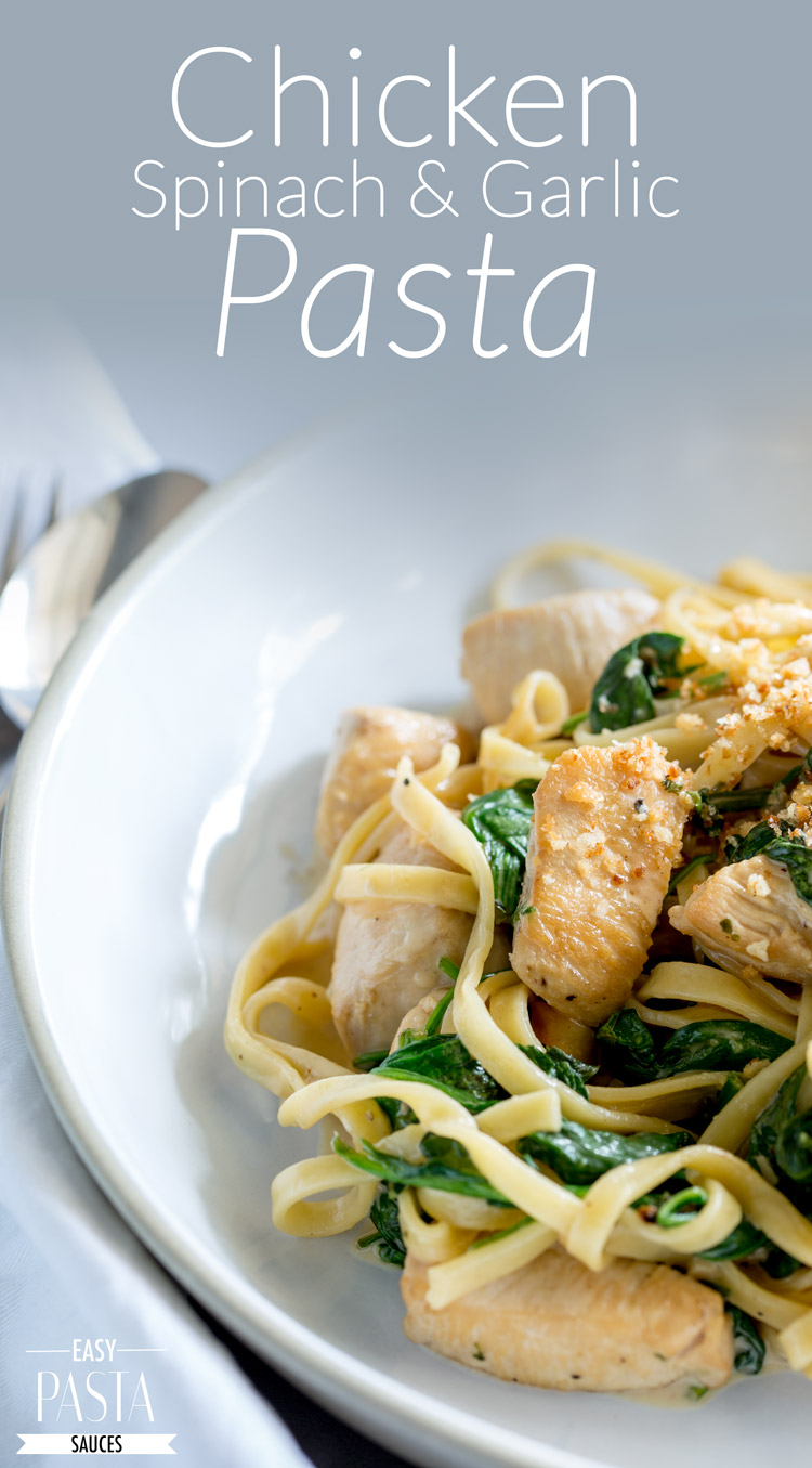 Juicy chunks of chicken, stirred through a creamy spinach and garlic pasta, topped with a salty and crunch pangrattato. This Chicken Spinach and Garlic Pasta is a great mid-week meal. From Easy Pasta Sauces.