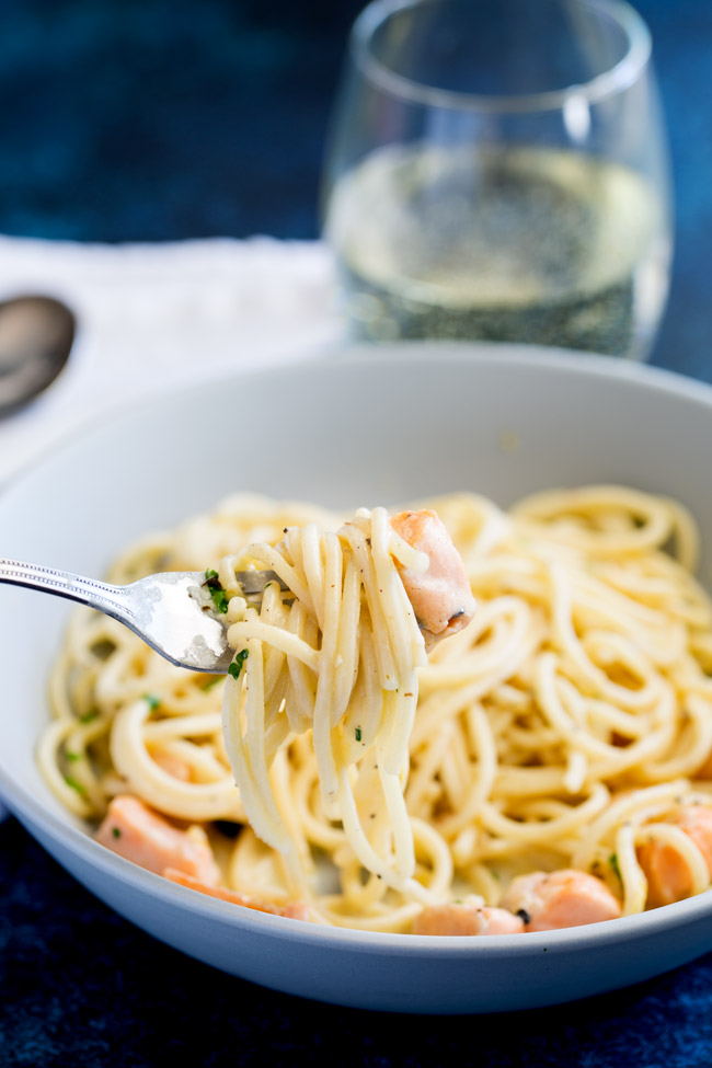 This Creamy Lemon and Salmon Pasta is comforting and filling whilst still being fresh and light. Perfect for a mid-week meal, or elegant enough for company. From Easy Pasta Sauces