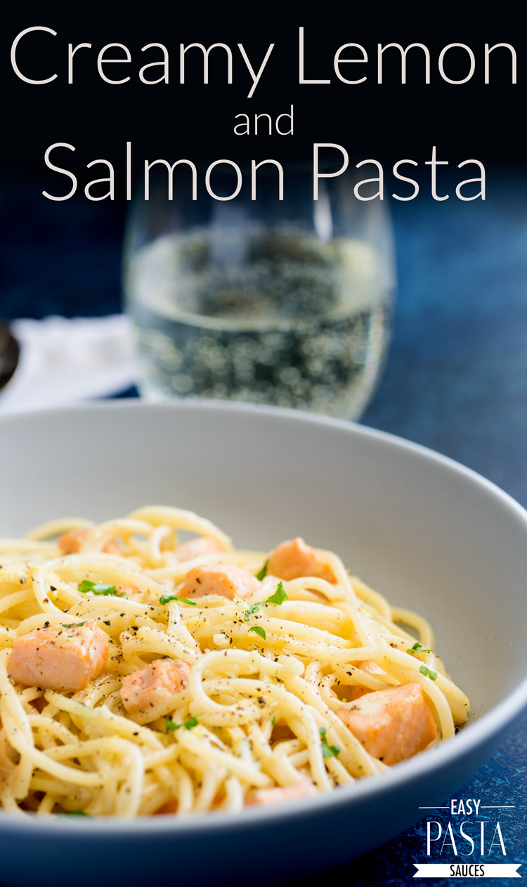 This Creamy Lemon and Salmon Pasta is comforting and filling whilst still being fresh and light. Perfect for a mid-week meal, or elegant enough for company. From Easy Pasta Sauces.
