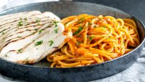 Succulent Juicy Grilled chicken, serve with a rich, sweet, smokey roasted bell pepper cream sauce. This Easy pasta recipe is perfect for the whole family and delicious enough for guests. From Easy Pasta Sauces.