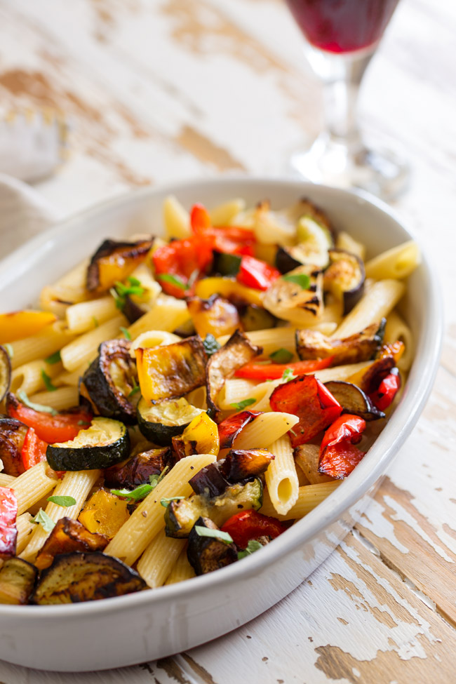 When veg is roasted is becomes sweeter and more intense. So thisMediterranean Pasta with Roasted Vegetables is bright and beautiful and packed with flavor.From Easy Pasta Sauces